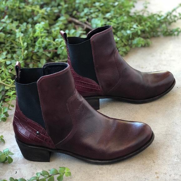 62b7a289dba UGG Keller Croco Maroon Leather Ankle Booties Boot
